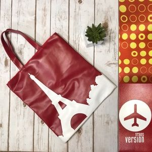Trans Version Eiffel Tower Red and White Tote Bag